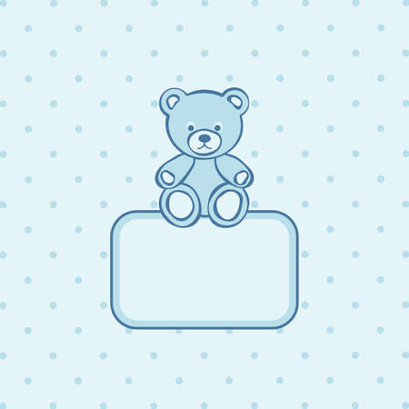 mother and baby son: Teddy bear blue frame.  illustration.