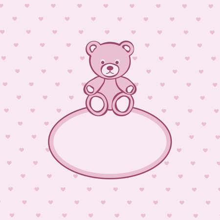 obesidad infantil: Oso de peluche de color rosa marco. ilustraci�n.