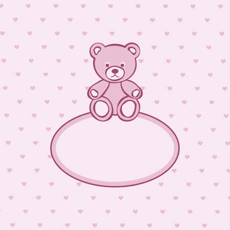 childhood obesity: Teddy bear pink frame.  illustration.