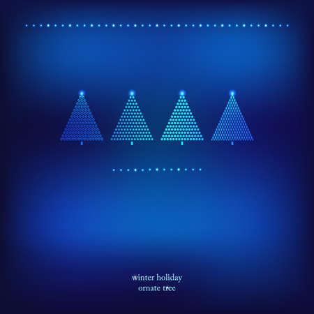 christmas snow globe: Decoration trees blue frame  Vector illustration  Illustration