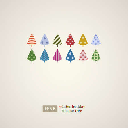 Colorful winter holidays trees frame  Vector illustration   Vector