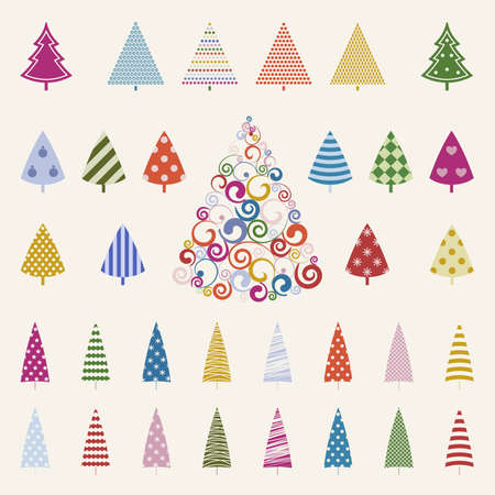trees illustration: Decoration pine trees celebration set illustration