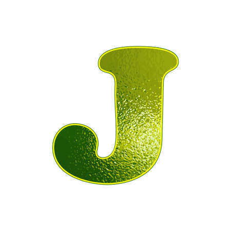 vitreous: Set of green letters with the effect of glowing glass. Vector illustration.