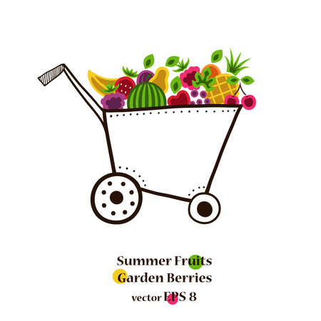dolly: Garden cart with bright summer fruits and berries. Vector illustration.