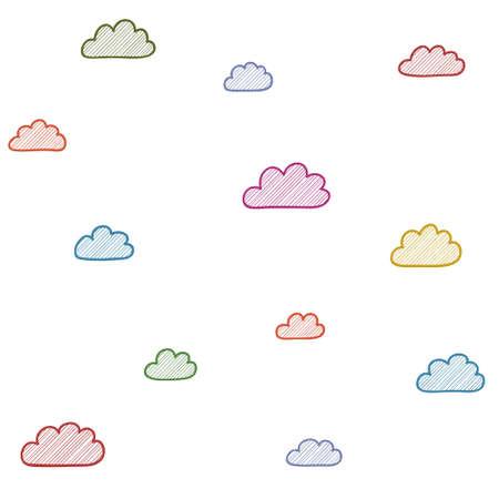 cloudscape: Multicolored cloudscape seamless decoration background. Vector illustration.