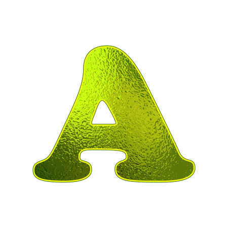 vitreous: green letter A with the effect of glowing glass