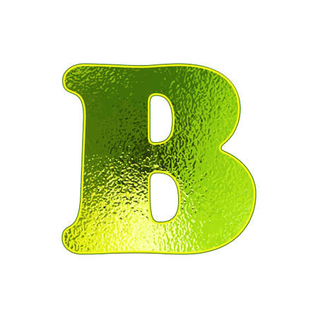 vitreous: green letter B with the effect of glowing glass