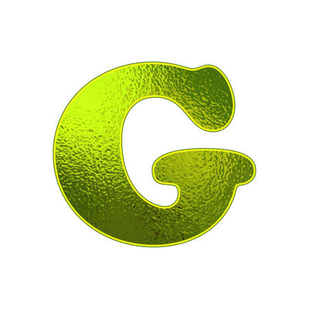 vitreous: green letter G with the effect of glowing glass