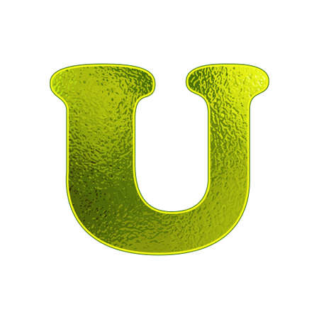 vitreous: green letter U with the effect of glowing glass Illustration
