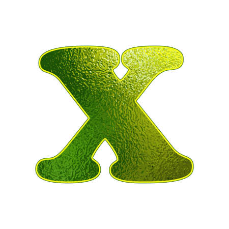 vitreous: green letter X with the effect of glowing glass Illustration