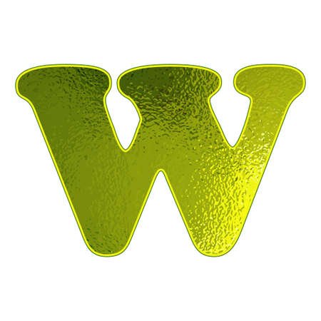 vitreous: green letter W with the effect of glowing glass