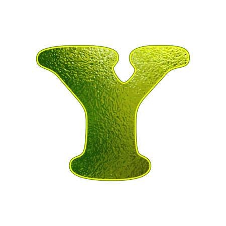 vitreous: green letter Y with the effect of glowing glass Illustration