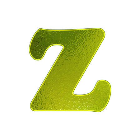 vitreous: green letter Z with the effect of glowing glass Illustration
