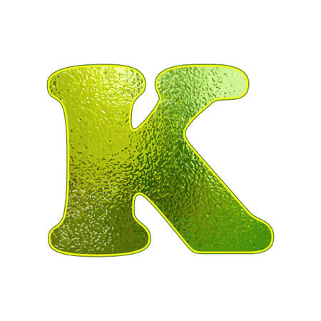 vitreous: green letter K with the effect of glowing glass