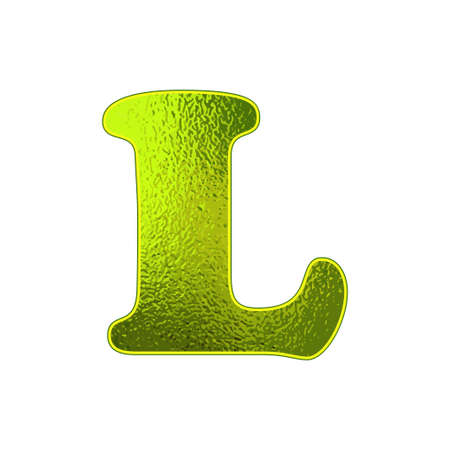 vitreous: green letter L with the effect of glowing glass
