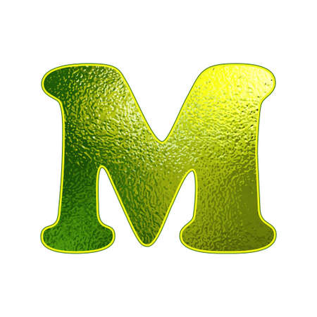 vitreous: green letter M with the effect of glowing glass