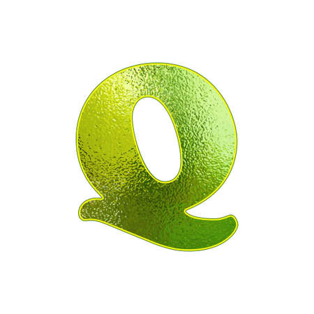 vitreous: green letter Q with the effect of glowing glass