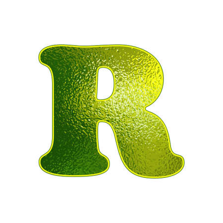 vitreous: green letter R with the effect of glowing glass Illustration