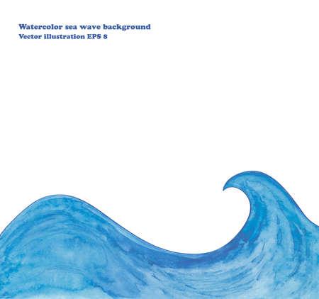 Watercolor sea wave background 일러스트