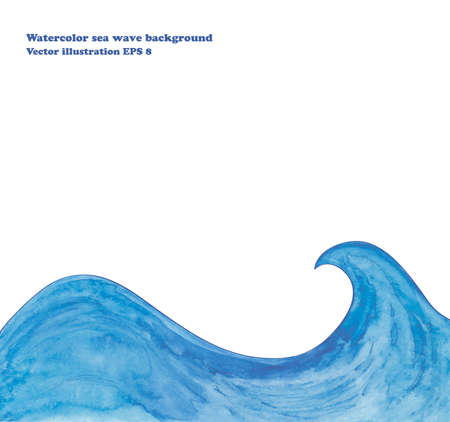 Watercolor sea wave background Vectores