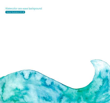 aquarelle: Watercolor sea wave background Illustration