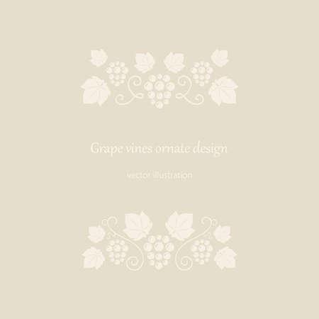 vine and leaves of vine: Grape vines beige ornate frame. Vector illustration.