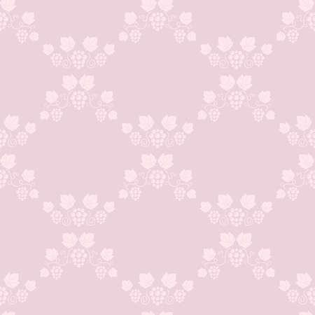 vine leaves: Seamless grape vines pink background. Vector illustration.
