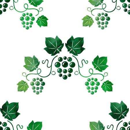 Watercolor style green grape vines seamless. Vector illustration. Illustration