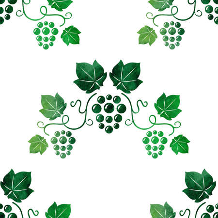 Watercolor style green grape vines seamless. Vector illustration.