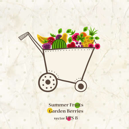Garden cart with bright summer fruits and berries. Vector illustration.