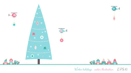 Christmas tree decoration card with train and helicopter toys. Vector illustration. Ilustrace