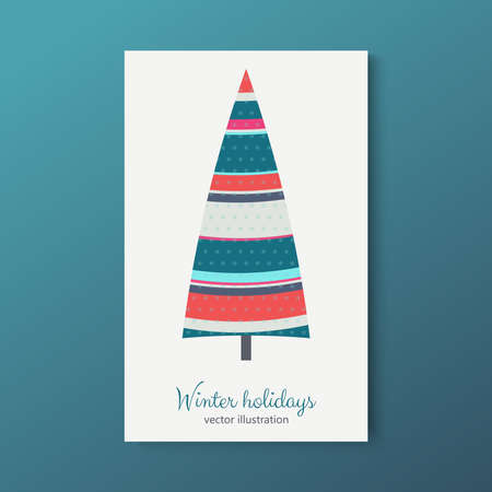 Winter holidays colorful fir tree with stars texture. Vector illustration. Imagens - 116073922