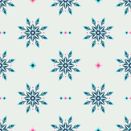 Ethnic style winter grunge snowflake background. Vector illustration.