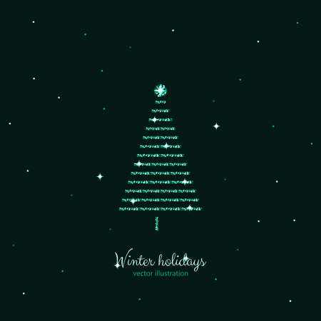 Green shine holidays tree with dark green stars background. Vector illustration.