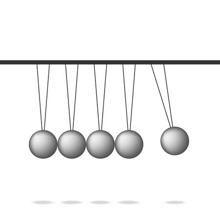 Newton cradle pendulum ball, Leadership  work together teamwork, realistic Vector illustration