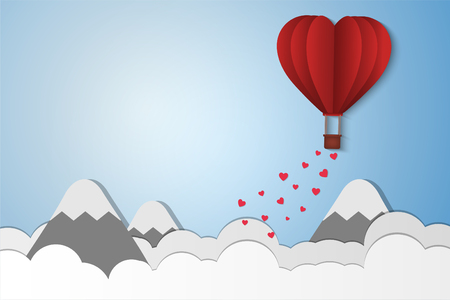 Paper Style love of valentine day , balloon flying over cloud and mountain with heart float on the sky, couple honeymoon , vector illustration background