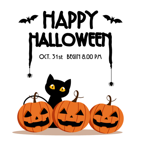 Happy Halloween Day ,  Bat and spider on text , Cute pumpkin smile spooky scary but cute and black cat party isolated on white background , vector illustration , sign element Çizim