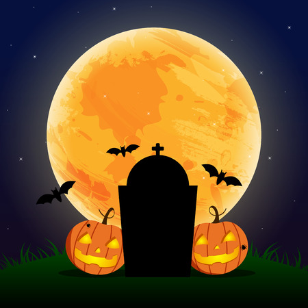 Happy Halloween Day ,  Bat and spider , Cute pumpkin smile spooky scary but cute and graves party under moon , vector illustration , sign element