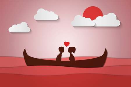 Lovers sit on a boat in the middle of the sea and have a sunset , paper art couple honeymoon , valentine day date , vector illustration Çizim