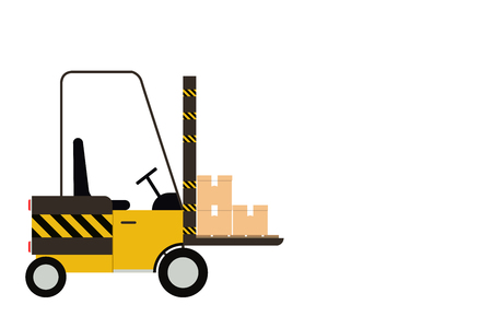Forklift Truck isolated on white background with copy space for text advertising, Behind the Carriage For good quality products before delivery to customers, vector illustration Illustration