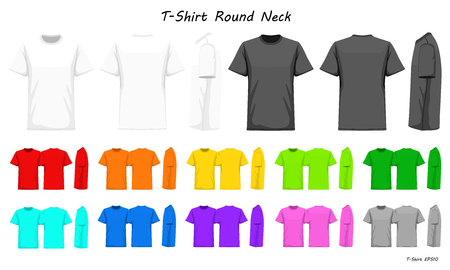 T-Shirt round neck color collection set for your design , mockup advertising , blank for printing , vector illustration , whit black grey red orange yellow green blue purple pink color Standard-Bild - 93268014