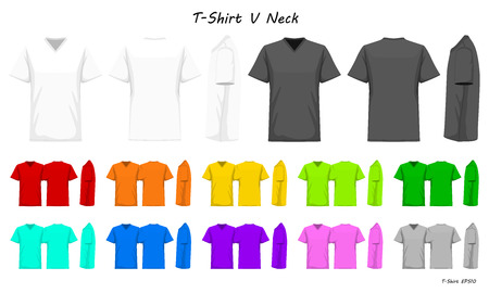 T-Shirt v neck color collection set for your design, mock-up advertising, blank for printing, vector illustration. White, black, grey, red, orange, yellow, green, blue, purple, pink color. Illusztráció