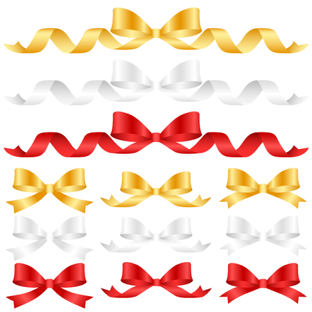 Ornament Bow Collection Set , Ribbon Color gold white red isolated on white background , object for festival event others , vector illustration Illustration