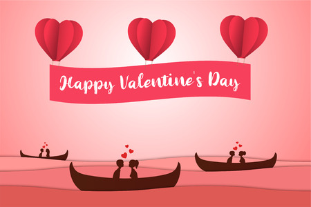 Lovers sit on a boat in the middle of the sea and have a Heart Balloon , paper art couple honeymoon , valentine day date , vector illustration Ilustração
