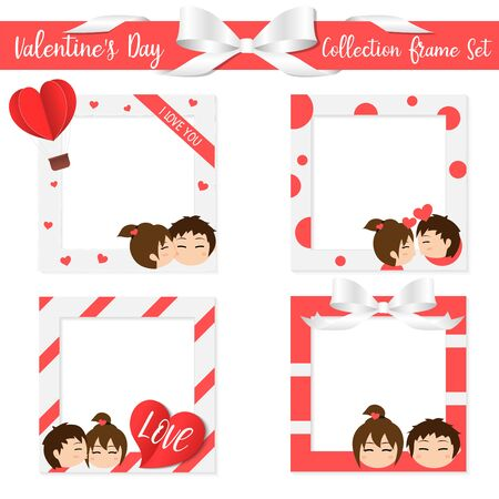 Collection Frame Set Valentine's Day , cute invitation card ,character cute boy and girl puppy love , lover send love , holiday vector illustration Ilustrace