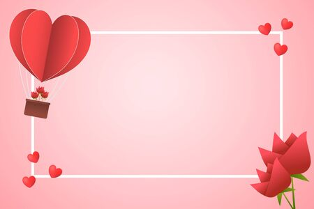 Frame Paper Style love of valentine day , heart balloon flying with heart float , Rose and heart outer frame with copy space , vector illustration background