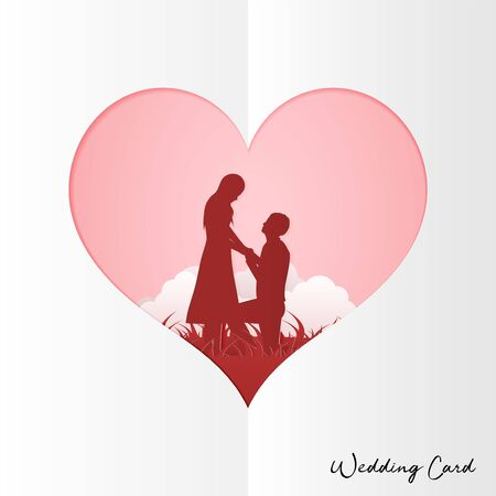 Illustration Young couple dating in Valentine day , Man kneeling to propose married to woman . Paper Sculpture art Style , Wedding Card Vector Ilustrace