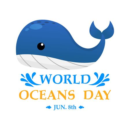 Illustration World Oceans Day , Conserve Aquatic and Natural Living in the Ocean , Cute Cartoon Character , Typography , vector design Ilustrace