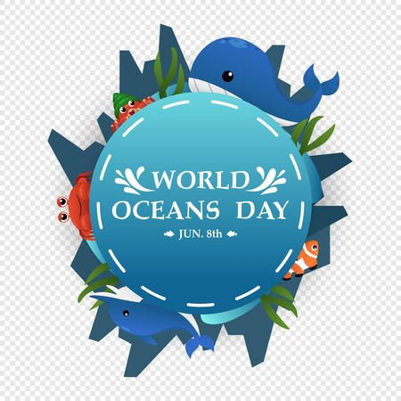 Illustration World Oceans Day, Conserve Aquatic and Natural Living in the Ocean, Cute Cartoon Character, Typography, vector design