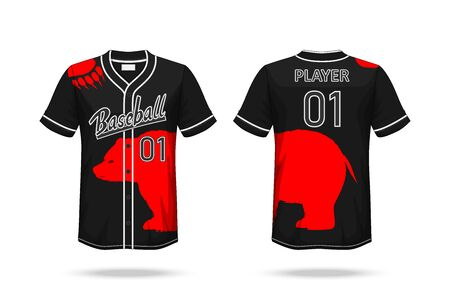Specification Baseball T Shirt Mockup isolated on white background , Graphic Bear on the shirt and placing elements or text on the shirt , blank for printing , vector illustration